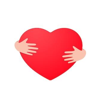 A forma di cuore nell'illustrazione delle mani