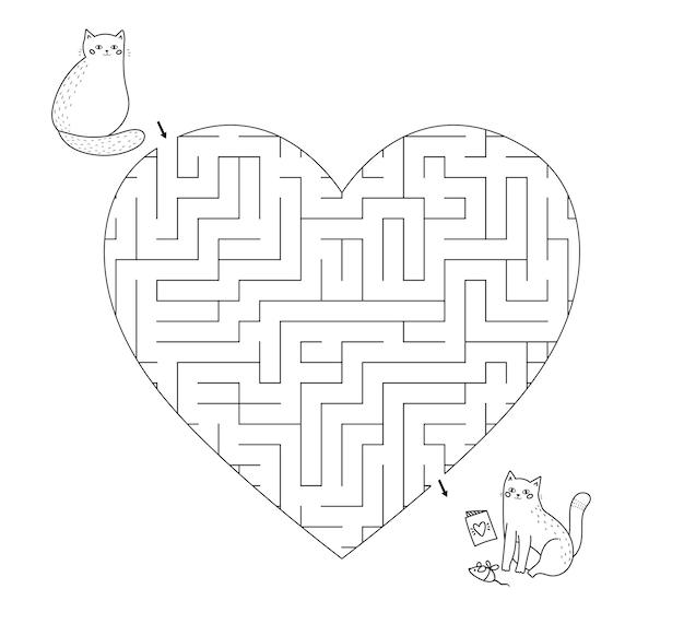 Gioco di labirinto a forma di cuore per bambini