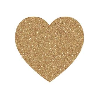 Stampa a forma di cuore con motivo glitter oro. buono per l'uso e il design. buono per biglietto di auguri.