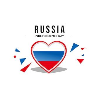 Vettore di bandiera russia a forma di cuore
