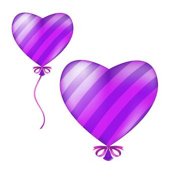 Palloncino a strisce a forma di cuore. illustrazione della palla volante viola elio aria con nastro e fiocco isolato su uno sfondo bianco