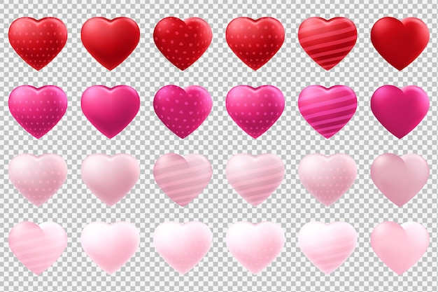 Set di palloncini a forma di cuore isolato su sfondo trasparente
