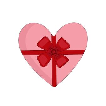 Scatola di cioccolatini a forma di cuore. appuntamento romantico, caffè. data degli innamorati. illustrazione vettoriale isolato su sfondo bianco.