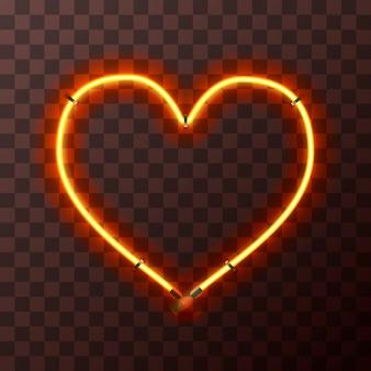 Cornice al neon giallo e arancione brillante a forma di cuore su sfondo trasparente