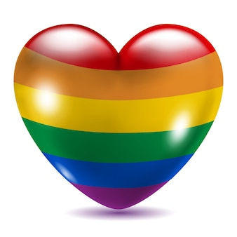Simbolo gay a forma di cuore su sfondo bianco con ombra