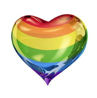 Simbolo gay a forma di cuore su sfondo bianco