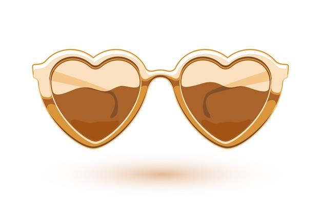 Illustrazione di occhiali da sole metallici dorati a forma di cuore. logo di usura degli occhi. simbolo dell'amore.