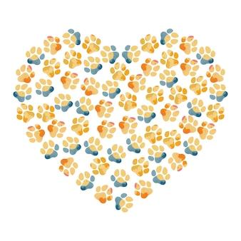 Sagoma di impronte di animali di colore dell'acqua disegnate a mano a forma di cuore di un'impronta di zampa