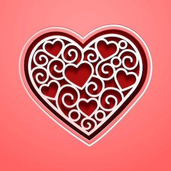 Decorazioni vuote a forma di cuore in rosso e rosa