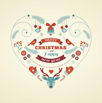 Cartolina d'auguri di buon natale e felice anno nuovo a forma di cuore con simboli di festa.