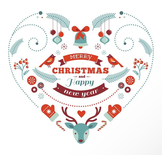 Buon natale e felice anno nuovo a forma di cuore con più elementi di auguri
