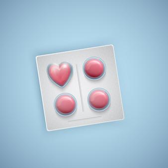 Pillole a forma di cuore, cura del cuore, forniture mediche, realistiche