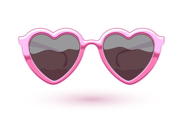 Illustrazione di occhiali da sole metallici rosa a forma di cuore. logo di usura degli occhi. simbolo dell'amore.