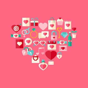 Insieme dell'icona di stile piano di giorno di san valentino a forma di cuore. set di oggetti stilizzati piatti