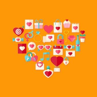 Icona di stile piatto giorno di san valentino a forma di cuore impostato con ombra. oggetto stilizzato piatto con ombra