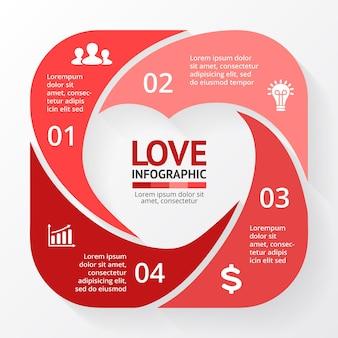 Modello di infografica segno di cuore simbolo sanitario medico carta di san valentino