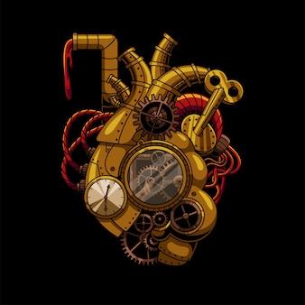 Illustrazione steampunk del cuore