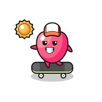 L'illustrazione del personaggio simbolo del cuore guida uno skateboard, un design in stile carino per t-shirt, adesivo, elemento logo