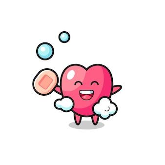Il personaggio simbolo del cuore sta facendo il bagno mentre tiene il sapone, design in stile carino per maglietta, adesivo, elemento logo