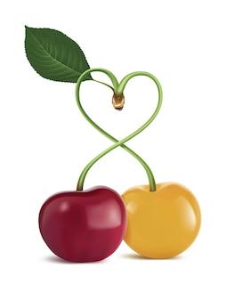 Illustrazione della ciliegia di simbolo del cuore