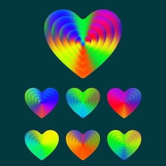 Simbolo del cuore. set di cuori colorati con trama sfumata. illustrazione vettoriale.