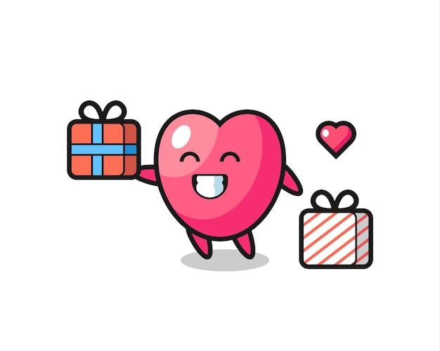 Cartone animato mascotte simbolo del cuore che fa il regalo, design in stile carino per maglietta, adesivo, elemento logo