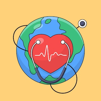 Simbolo del cuore con il fondo della terra e lo stetoscopio per lo stile del fumetto del profilo di celebrazione del manifesto di giornata mondiale del cuore