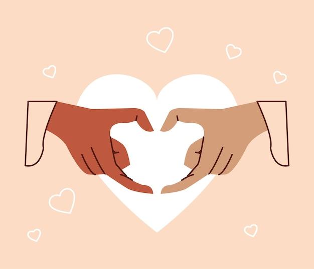 Simbolo del cuore con le mani interrazziali