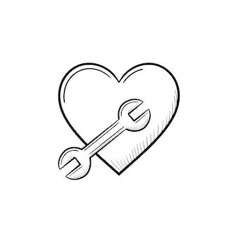 Un simbolo del cuore con un'icona di doodle di contorno disegnato a mano chiave inglese