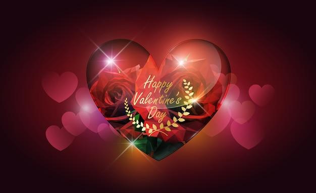 Cuore in vetro trasparente e rosa rossa stile basso poli sul bokeh cuore