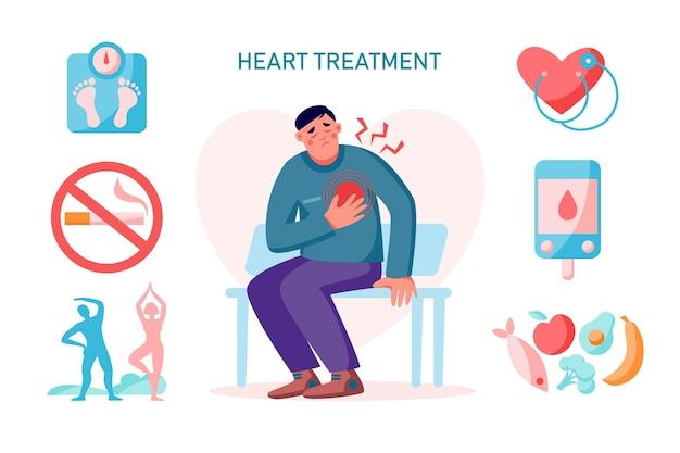 Problema cardiovascolare di trattamento del cuore, infografica con dolore al cuore e uomo. concetto di stile di vita sano. illustrazione vettoriale piatta. bilancia, cuore, esercizio fisico, cibo, controllo del diabete