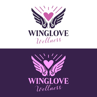 Design del logo del salone di bellezza delle ali del cuore