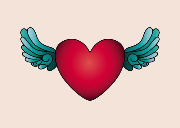 Disegno dell'icona isolato tatuaggio cuore e ali