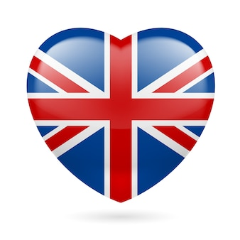 Cuore con i colori della bandiera britannica. amo il regno unito