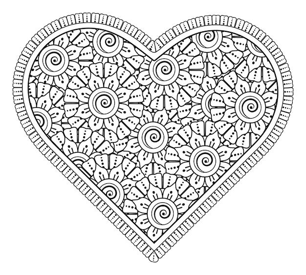 Cuore con fiore mehndi per henné, mehndi, decorazione. ornamento decorativo in stile etnico orientale. ornamento. illustrazione di tiraggio della mano di contorno. pagina del libro da colorare.