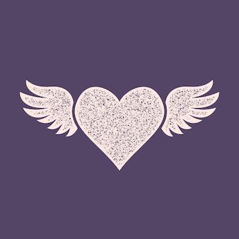 Icona del cuore con le ali con effetto timbro. carta di san valentino concetto di amore.