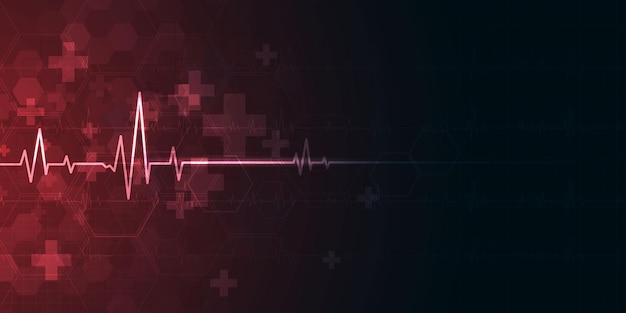 Il battito cardiaco sanitario e la scienza icona innovazione medica concetto sfondo disegno vettoriale.
