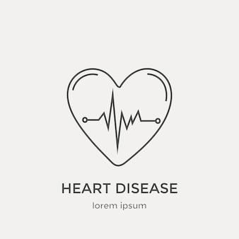 Icona del battito cardiaco. set di icone moderne linea sottile. elementi di grafica web design piatto.