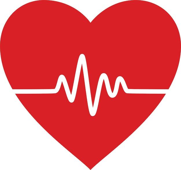Linea del battito cardiaco nel cuore. illustrazione vettoriale.
