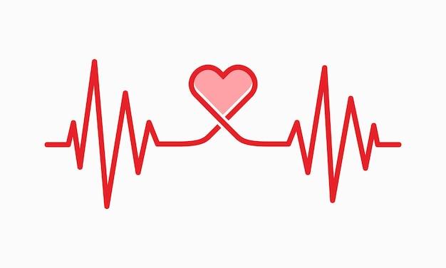Illustrazione della linea del battito cardiaco, traccia del polso, simbolo grafico ecg o ekg cardio per l'illustrazione vettoriale dell'analisi sana e medica