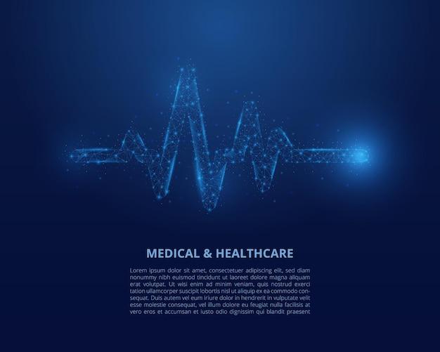 Illustrazione di wireframe low poly di battito cardiaco.