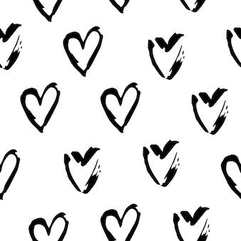 Reticolo senza giunte di cuori in bianco e nero. illustrazioni di simbolo di amore a mano libera su priorità bassa bianca.
