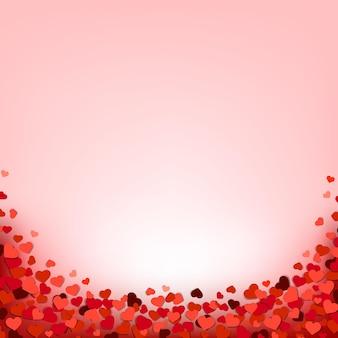 Confine di cuori con sfondo rosa