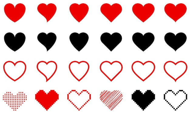 Cuori di diverse forme. grande insieme di diversi cuori rossi isolati. elementi vettoriali per il tuo design.