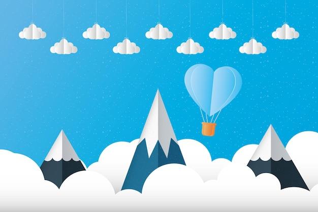 Cuori in mongolfiera ad aria calda sulla progettazione del paesaggio di montagne di amore passione e tema romantico illustrazione vettoriale