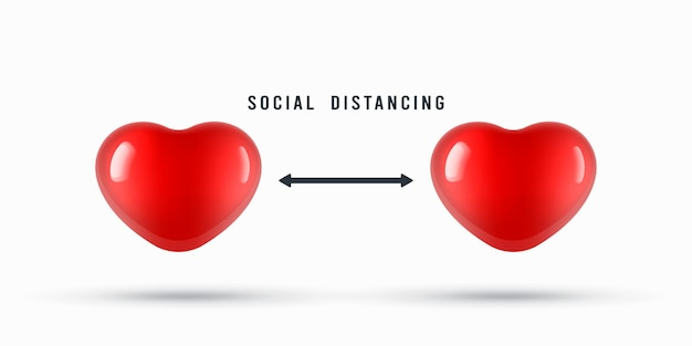 Cuori per l'illustrazione dell'avviso di allontanamento sociale