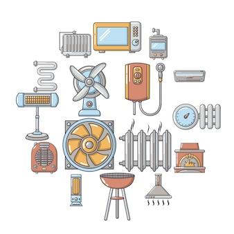 Insieme dell'icona di strumenti di flusso di aria fredda di calore, stile cartoon