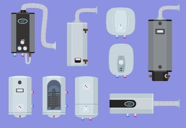 Sistemi di riscaldamento. set di tecnologia calda della stazione di servizio della caldaia dell'acqua della casa. caldaia di illustrazione per la raccolta dell'acqua del riscaldatore