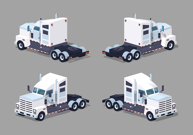 Pesante camion isometrico bianco lowpoly 3d