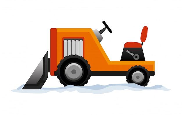 L'attrezzatura pesante pulisce la strada dalla neve. lavori stradali. attrezzatura dello spazzaneve isolata su fondo bianco. trasporto spazzaneve bulldozer escavatore